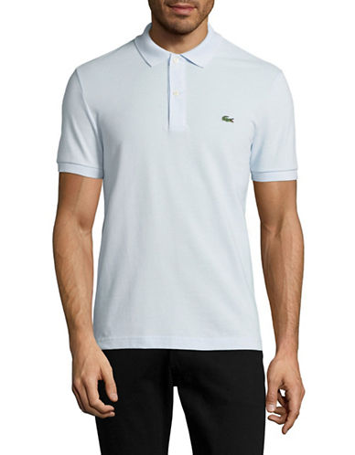 Lacoste Short Sleeve Ribbed Collar Polo Shirt-LIGHT BLUE-Medium