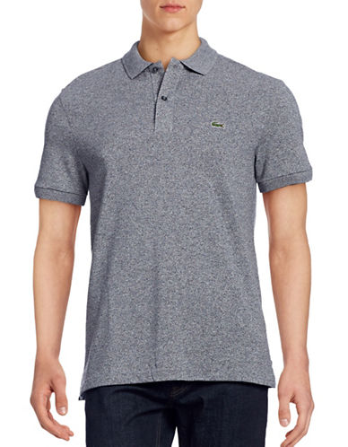Lacoste Short Sleeve Ribbed Collar Polo Shirt-BLUE-Medium