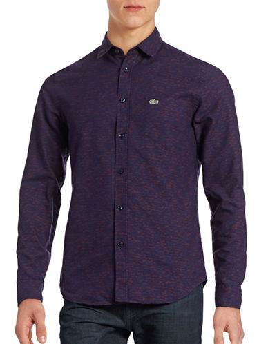 Lacoste Long Sleeve Camouflage Pique Shirt-DARKNESS-EU 42/US 16.5