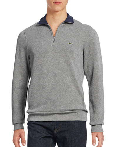 Lacoste Quarter-Zip Lightweight Sweatshirt-ASPHALT-X-Large