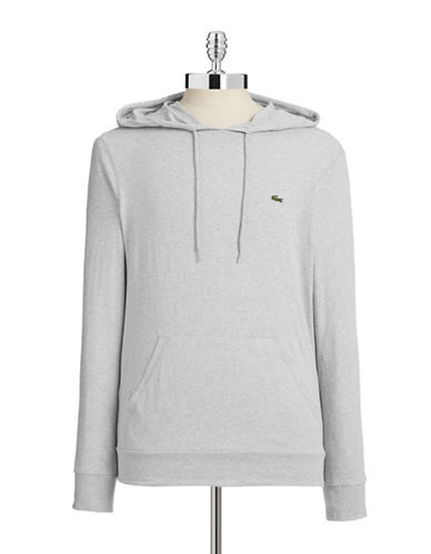 Lacoste Drawstring Pullover Hoodie-SILVER CHINE-X-Large