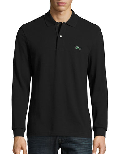 Lacoste Long Sleeve Classic-Fit Pique Polo-BLACK-Small
