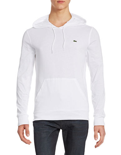 Lacoste Lightweight Hooded Long-Sleeve Tee-WHITE-5/Large