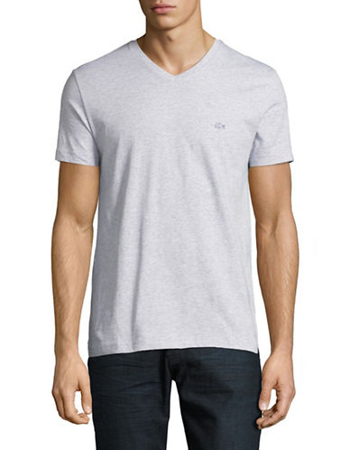 Lacoste Mini Stripe V-Neck Regular Fit T-Shirt-SILVER-Medium