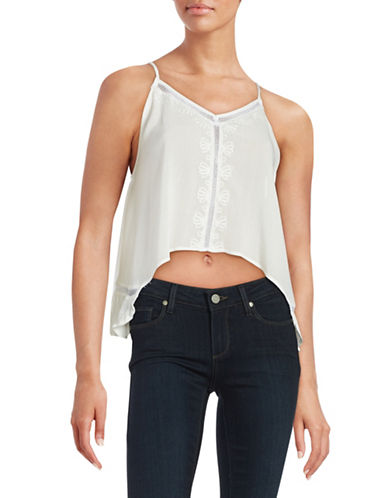 Design Lab Lord & Taylor Embroidered Hi-Lo Tank Top-WHITE-Medium