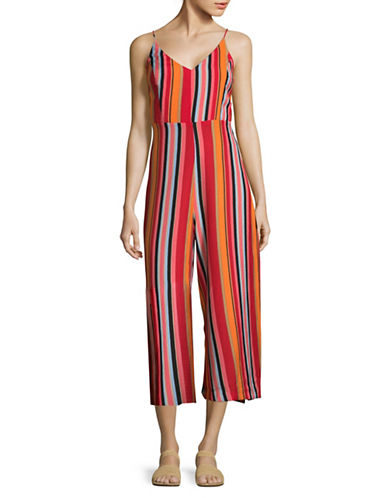 Design Lab Lord & Taylor Mixed Stripe Strappy Jumpsuit-MULTI-Medium