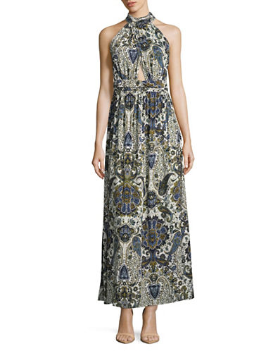 Design Lab Lord & Taylor Paisley Criss-Cross Front Maxi Dress-GREY-X-Small