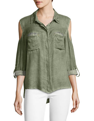 Design Lab Lord & Taylor Cold-Shoulder Button-Down Top-GREEN-X-Small