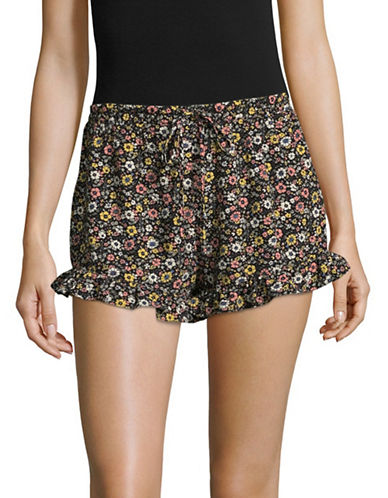 Design Lab Lord & Taylor Ruffle Hem Floral Shorts-BLACK MULTI FLORAL-Large