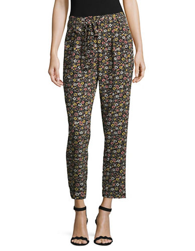 Design Lab Lord & Taylor Printed Tie-Waist Jogger Pants-GREY-Large