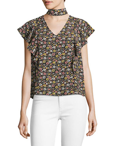 Design Lab Lord & Taylor Ruffle Shoulder Choker Top-BLACK FLORAL MULTI-Medium