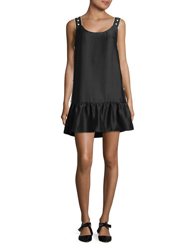 Design Lab Lord & Taylor Dropped Waist Faux Pearl-Trim Dress-BLACK-Large
