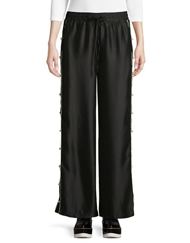Design Lab Lord & Taylor Faux Pearl-Trim Wide-Leg Track Pants-BLACK-Large