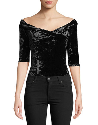 Design Lab Lord & Taylor Off-The-Shoulder Velvet Bodysuit-BLACK-X-Small