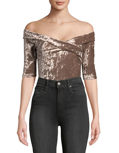 Design Lab Lord & Taylor Off-The-Shoulder Velvet Bodysuit-BEIGE-Small