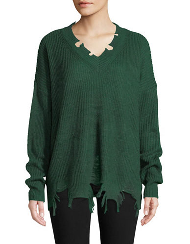 Design Lab Lord & Taylor Destructed Shaker-Stitch Sweater-GREEN-Large