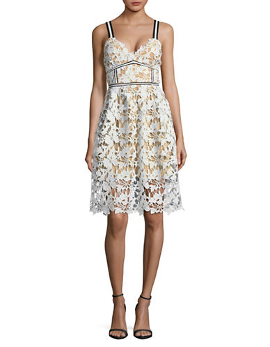 Design Lab Lord & Taylor Floral Lace Dress-WHITE-X-Small