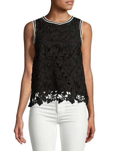Design Lab Lord & Taylor Floral Lace Top-BLACK-Large
