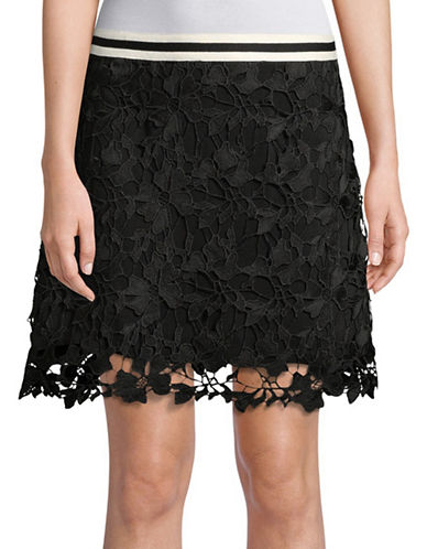 Design Lab Lord & Taylor Floral Lace Mini Skirt-BLACK-Medium
