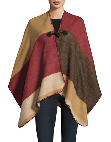 Collection 18 Colourblocked Toggle-Front Ruana-BURGUNDY-One Size