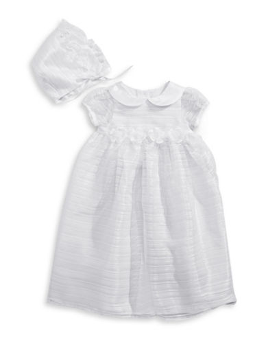 Picture Perfect Two-Piece Sheer Striped Christening Gown Set-WHITE-3 Months