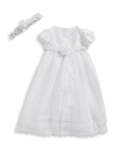 Picture Perfect Two-Piece Floral Lace Christening Gown Set-WHITE-6 Months