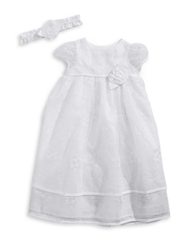 Picture Perfect Two-Piece Embroidered Christening Gown Set-WHITE-0-3 Months