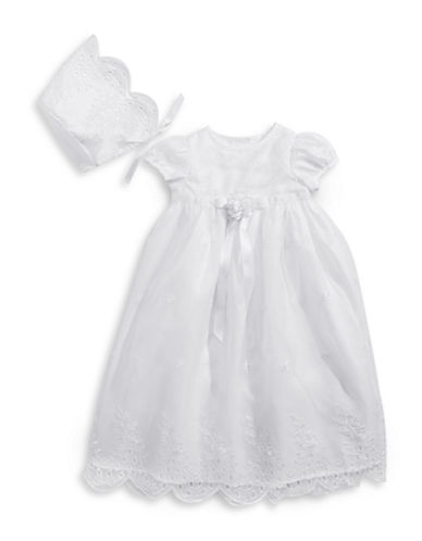 Picture Perfect Two-Piece Scalloped Christening Gown Set-WHITE-0-3 Months