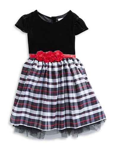 Sweetheart Rose Velvet Plaid Dress-RED-2