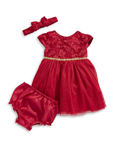 Sweetheart Rose Three-Piece Lace Dress, Bloomers & Headband Set-RED-12 Months