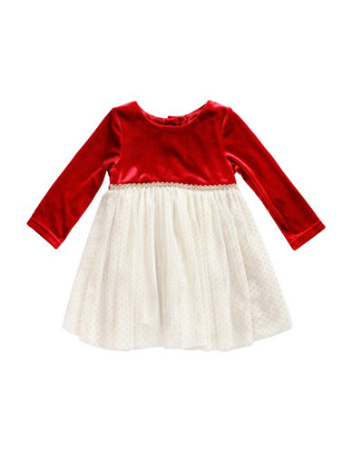 Sweetheart Rose Velvet Dress-RED-12 Months