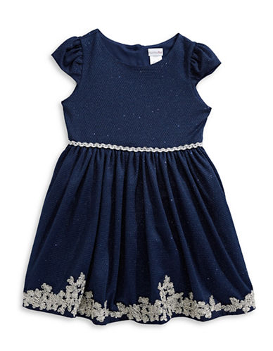 Sweetheart Rose Embellished Two-Tone Dress-NAVY/SILVER-3
