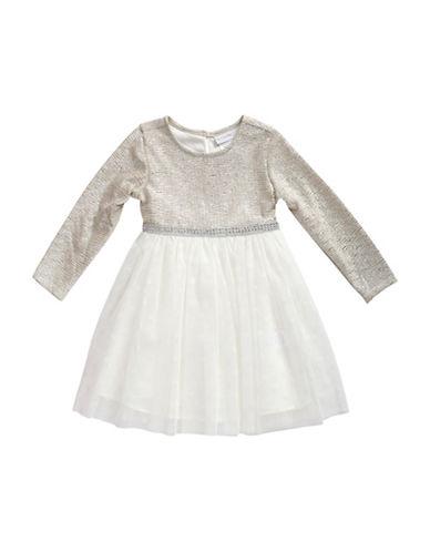 Sweetheart Rose Long Sleeve Dress-GREY-6X