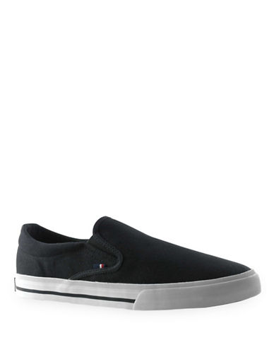 Tommy Hilfiger Poyner Slip-On Canvas Sneakers-BLACK-7.5