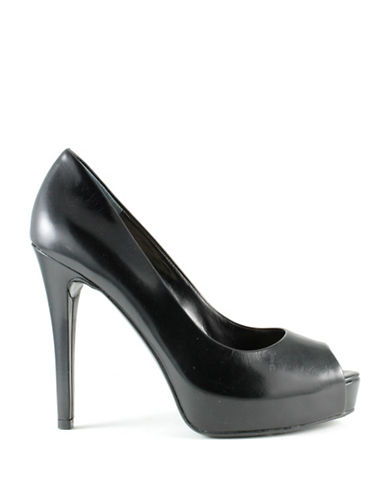 Guess Pavell 3 Leather Peep-Toe Pumps-BLACK-9.5