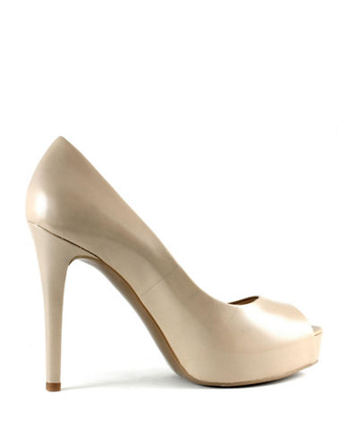 Guess Pavell 3 Leather Peep-Toe Pumps-TAUPE-6.5
