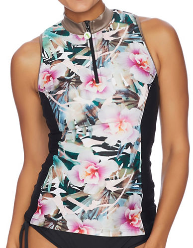 Next Intensity Removable Soft Cup Zip-Front Tankini-MULTI-Medium