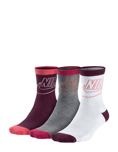Nike Three-Pack Striped Cotton Low Crew Socks-MULTI-Medium