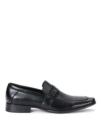 Calvin Klein Bartley Diamond Leather Loafers-BLACK-8.5