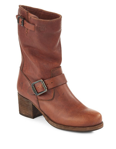Frye Vera Short Leather Boots-COGNAC-7.5