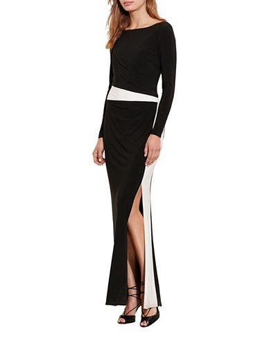 Lauren Ralph Lauren Colourblock Jersey Gown-BLACK-10