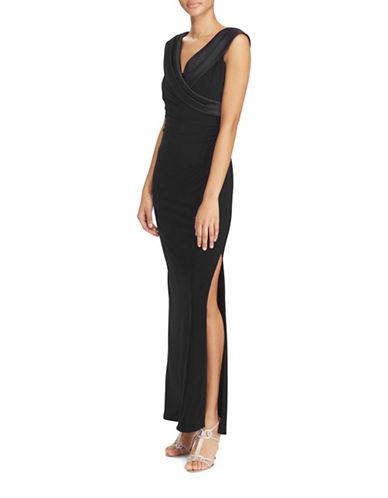 Lauren Ralph Lauren Satin-Neckline Column Gown-BLACK-14