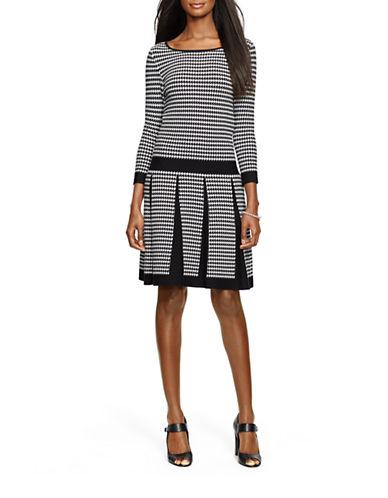 Lauren Ralph Lauren Houndstooth Sweater Dress-BLACK-X-Small  AT vintagedancer.com