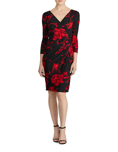 Lauren Ralph Lauren Floral Wrap Dress-BLACK/RED-2