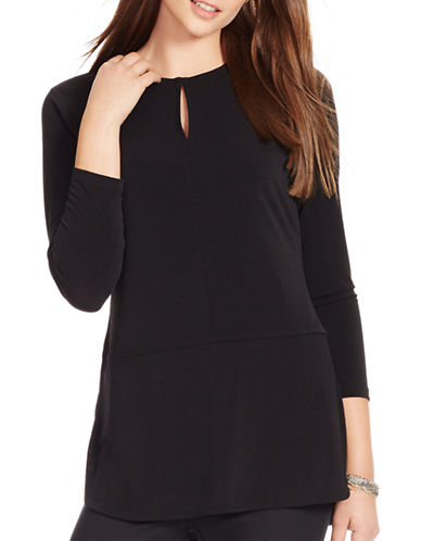Lauren Ralph Lauren Three-Quarter Sleeve Top-BLACK-X-Small 87724114_BLACK_X-Small