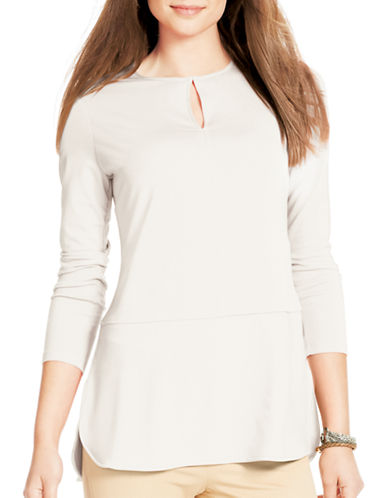 Lauren Ralph Lauren Three-Quarter Sleeve Top-BEIGE-X-Small