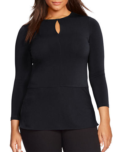 Lauren Ralph Lauren Plus Jersey Peplum Top-BLACK-3X