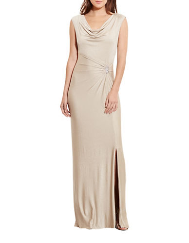 Lauren Ralph Lauren Metallic Cowl Neck Gown-GOLD-16