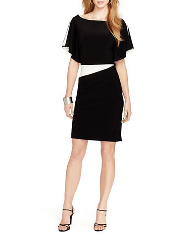 Lauren Ralph Lauren Two-Toned Jersey Dress-BLACK-6