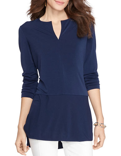 Lauren Ralph Lauren Three-Quarter Sleeve Top-BLUE-Small